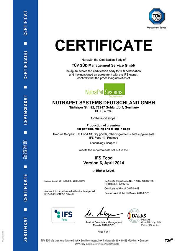 Zertifikat englisch IFS