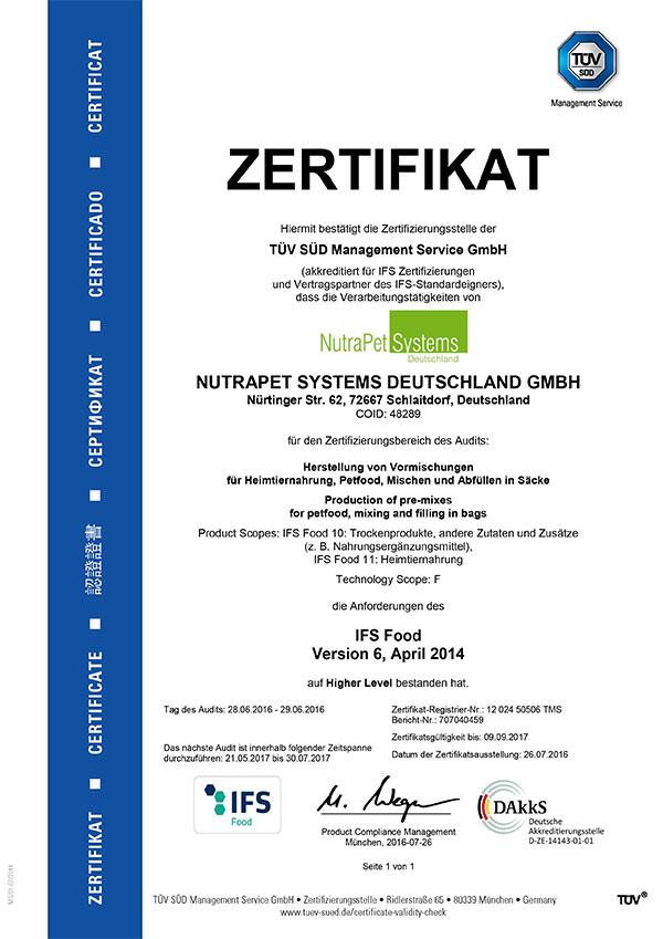 Zertifikat deutsch IFS